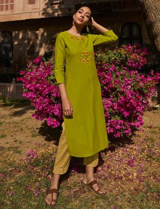 Parrot green cotton festive wear pant suit
