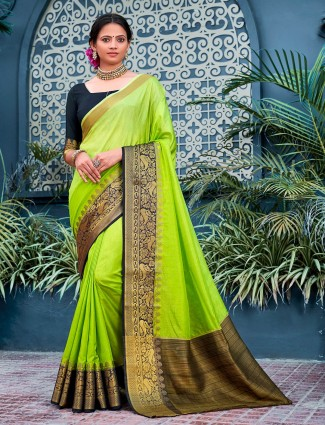 Parrot green cotton silk saree for festivals