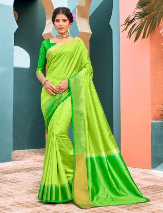 Parrot green cotton silk saree for festives