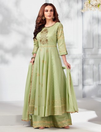 Parrot green cream cotton silk pakistani style palazzo suit