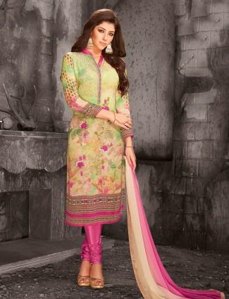 Parrot green festive wear salwar suit