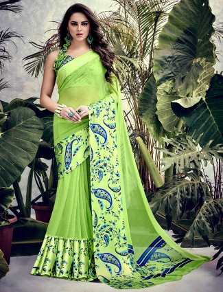 Parrot green georgette saree