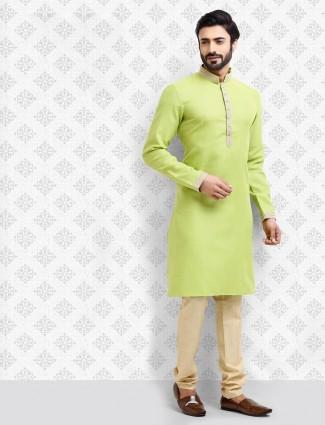 Parrot green hue cotton festive wear kurta suit