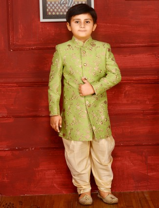 Parrot green indo western for boys