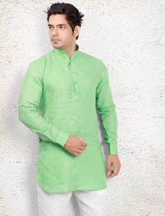 Parrot green linen short pathani