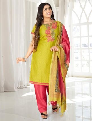 Parrot green printed punjabi salwar suit