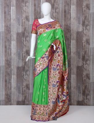 Parrot green pure banarasi silk paithani saree