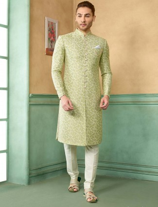 Parrot green raw silk sherwani for wedding