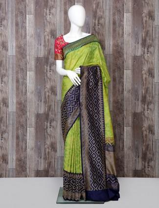 Parrot green saree in pure banarasi silk