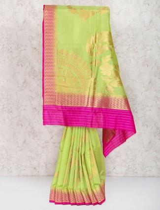 Parrot green saree in semi silk