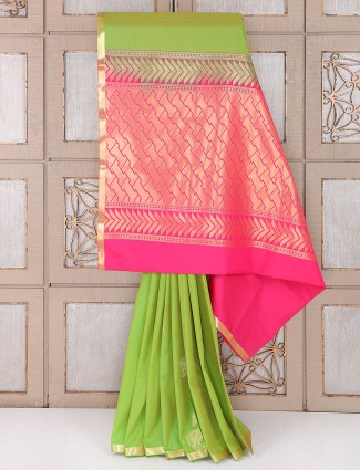 Parrot green semi silk festive saree
