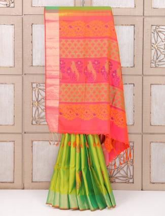 Parrot green silk fabric wedding saree
