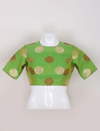 Parrot green silk ready made blouse