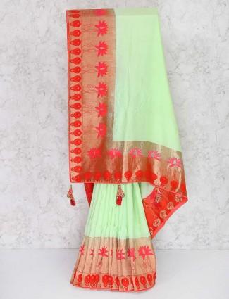 Parrot green wedding wear semi silk saree