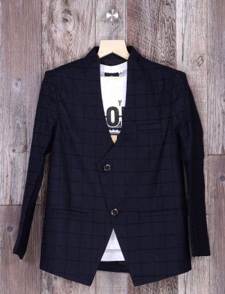 Part wear navy checks blazer for boys
