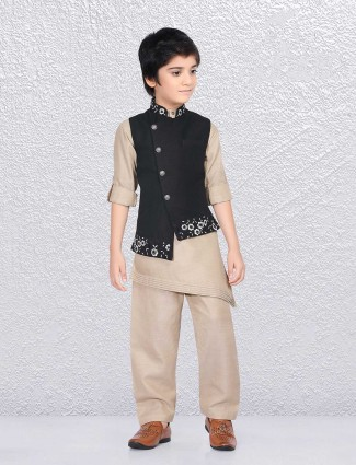 Party beige and black waistcoat set