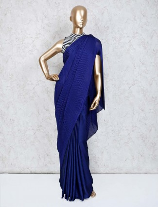 Party crush satin blue saree with ready made blouse