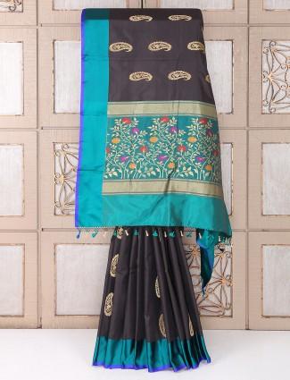 Party functin black color silk fabric saree