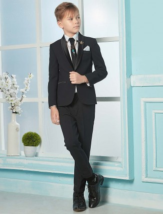 Party function black color solid terry rayon coat suit