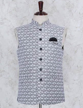 Party function blue hued printed waistcoat