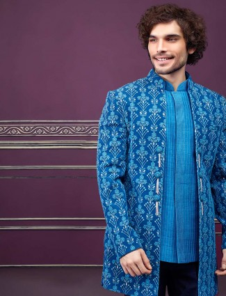 Party function blue jecket style mens indo western