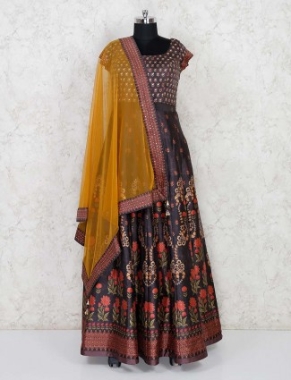 Party function brown cotton silk printed anarkali suit