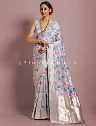 Party function grey banarasi silk exclusive saree
