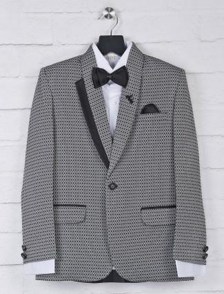 Party function grey thread weaving tuxedo suit