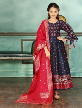 Party function navy cotton silk anarkali suit