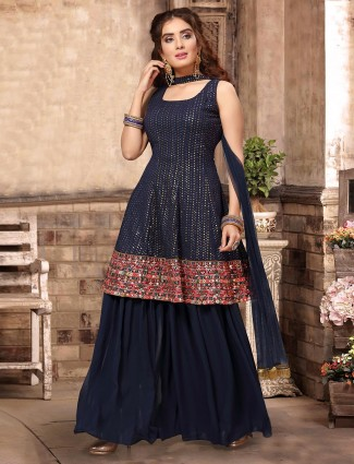 Party function navy georgette punjabi palazzo suit
