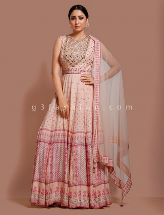 Party function peach cotton printed anarkali suit