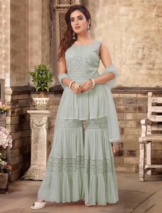 Party function pista green georgette designer sharara suit