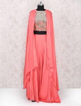 Party indo western lehenga choli in pink
