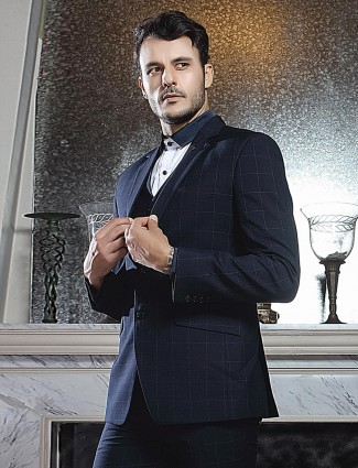 Party occasion checks navy notch lapel tuxedo suit