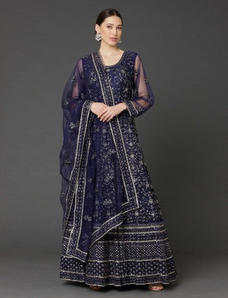 Party occasion navy net anarkali suit