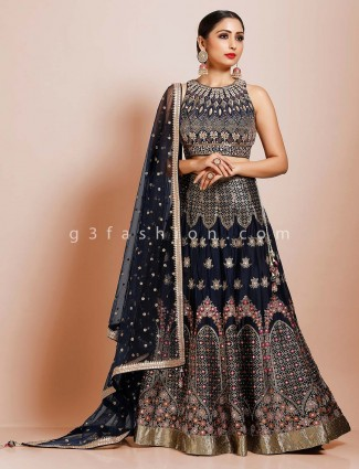 Party occasion navy silk lehenga with designer blouse