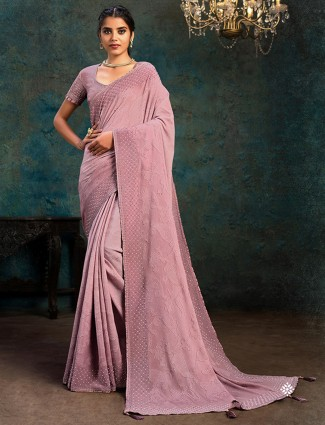 Party perfect pink colored marble chiffon saree