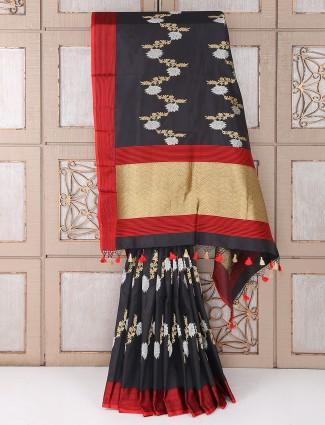 Party wear beautiful black color silk fabric saree