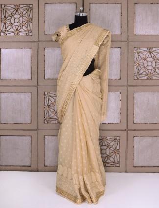 Party wear beige chiffon fabric saree