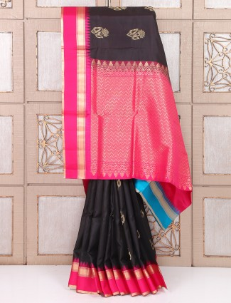 Party wear black and magenta color saree