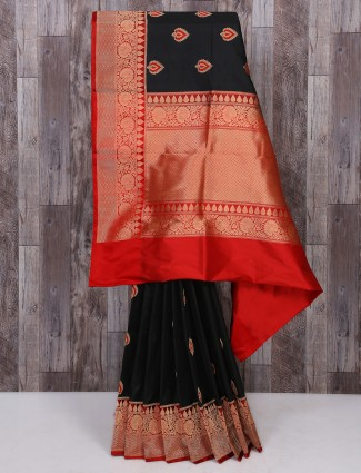 Party wear black and red saree