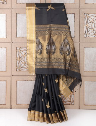 Party wear black color silk fabric saree