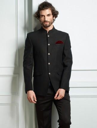 Party wear black colored jodhpuri suit