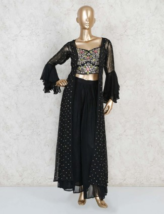 Party wear black indo western palazzo suit