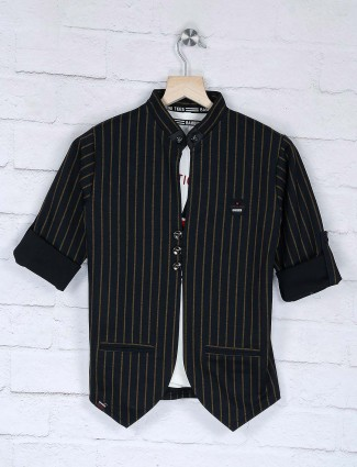 Party wear black stripe pattern blazer