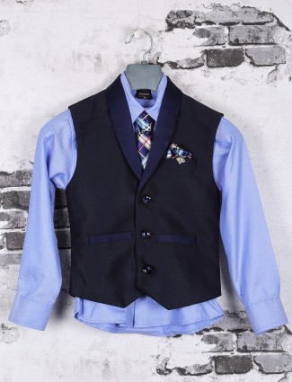 Party wear blue and navy waistcoat