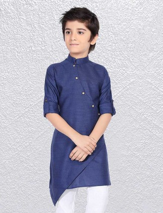 Party wear blue cotton short kurta