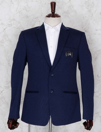 Party wear blue hued terry rayon blazer