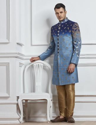 Party wear blue raw silk indo western