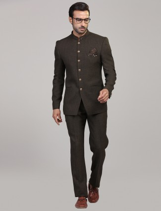 Party wear brown colored jodhpuri suit